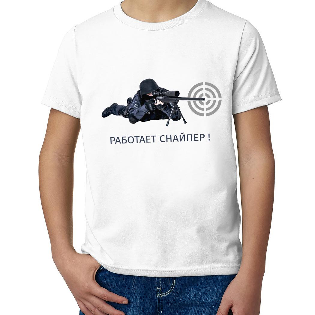 Детская футболка с принтом  Полицейский снайпер